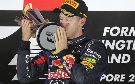 Vettel crushed the opposition to win his third successive Singapore Grand Prix on Sunday. Image: telegraph.co.uk